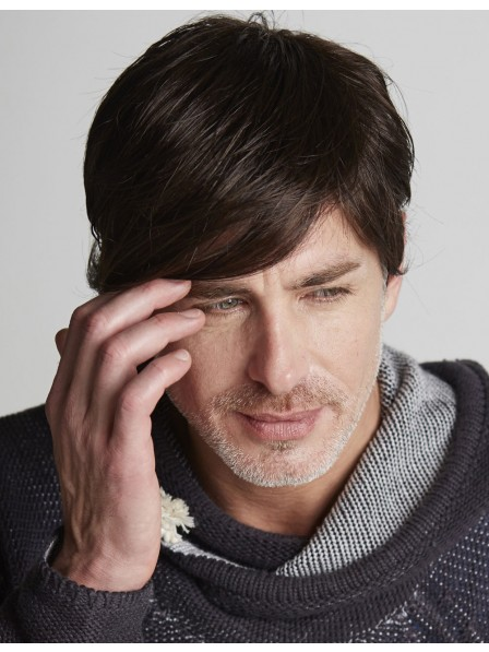 100% Hand Tied and Lace Front With Fringe Men's Hair Wigs