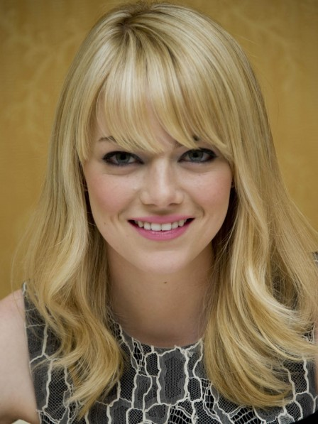 100% Human Hair Emma Stone Medium Wig with Bangs