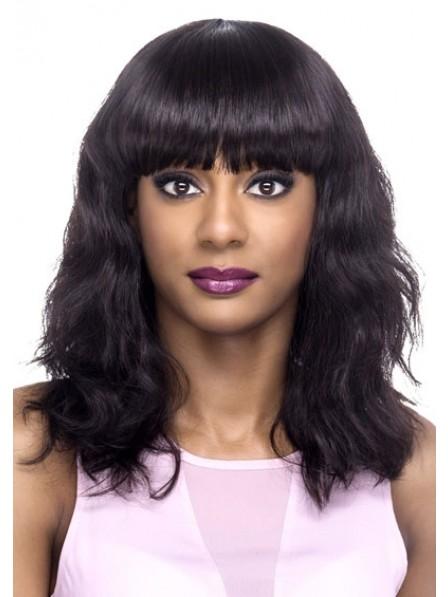 100% Remi Natural Human Hair Wig With Full Bangs