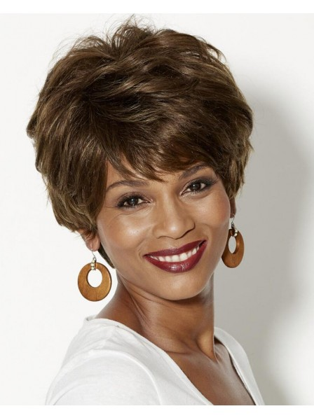 100% Human Hair Pixie Wig With Short Wavy Layers And A Tapered Back