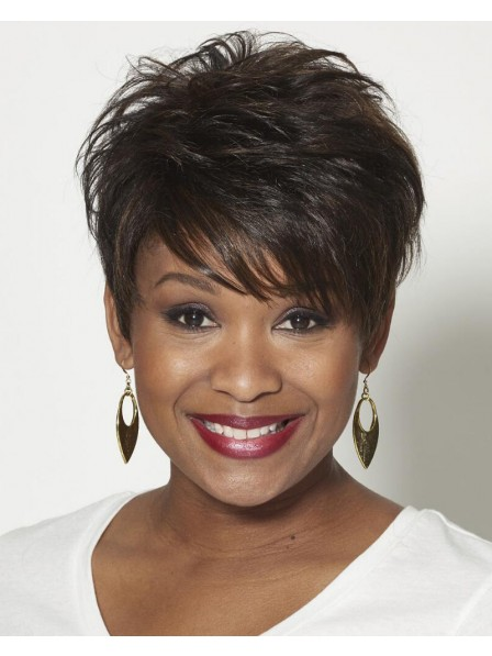 100% Human Hair Pixie Wig With Short Wavy Layers And Flirty Fringe