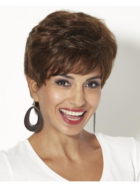 Brown 100% Human Hair Pixie Wig With Tousled Layers Of Piecey Waves