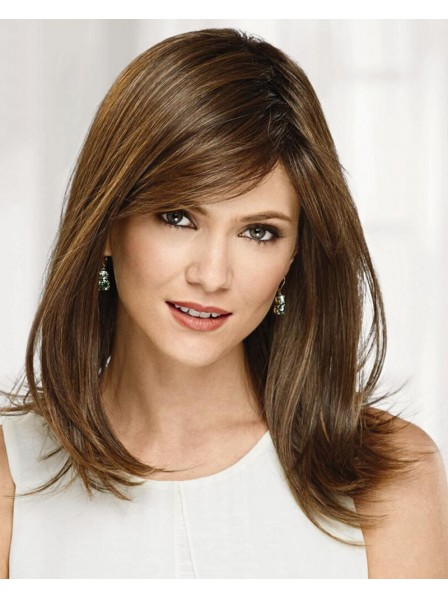 Brown Shoulder-Length Bob Wig In Heat-Stylable Synthetic Fiber
