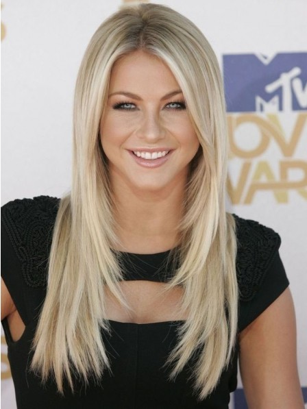 Long Blonde Straight Human Hair Lace Front Mono Top Wig