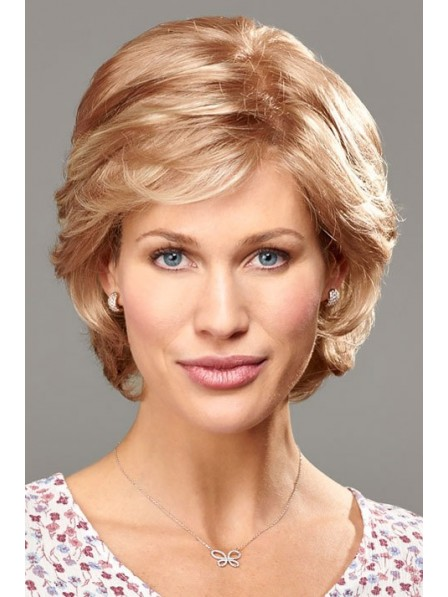 Chin Length Platinum Blonde Curly Wig with Bangs