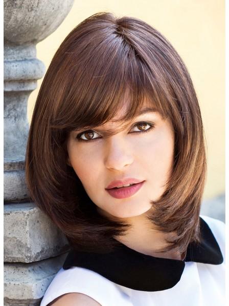 Classic Women Medium Wig With Bangs