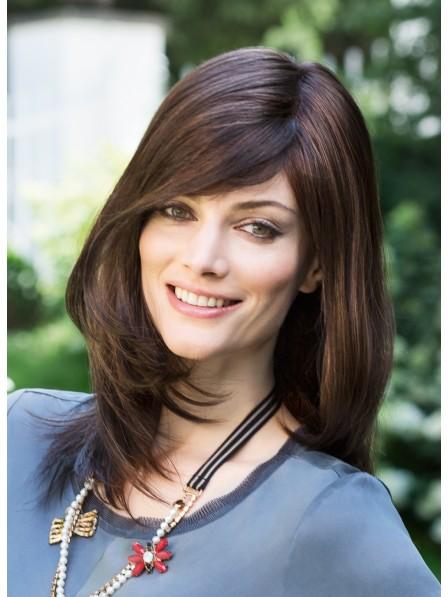 Dark Brown 100% Real Hair Wig with Side Bangs