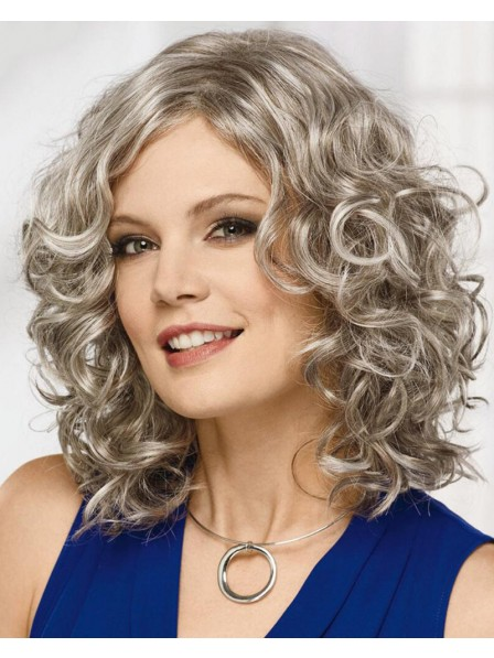 Flattering Mid-Length Bob Wig With Rich Layers Of Loose Barrel Curls