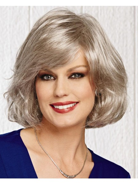 Grey Straight Mid-Length Bob Style Wig With Bangs