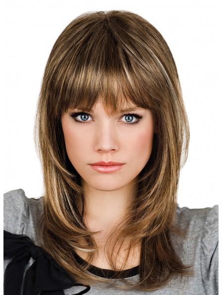 Human Hair Medium Length Capless Wig with Full Bangs
