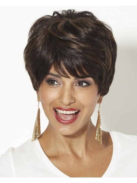 Human Hair Pixie Wig With Short Wavy Layers And A Tapered Back