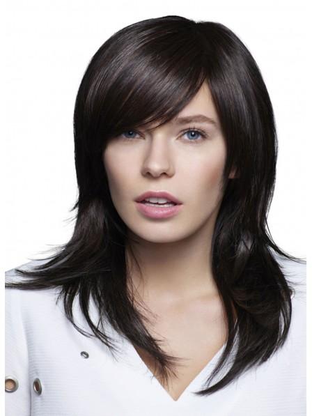 Human Hair Straight Mid-length Capless Wig