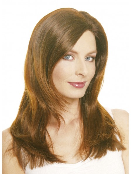 Lace Front Light Brown Human Hair Straight Wig With Long Layers
