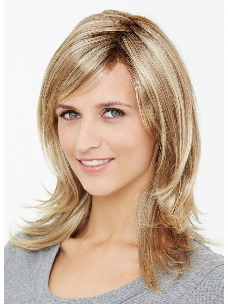 Medium Natural Layered Blonde Human Hair Wig with Lace Front