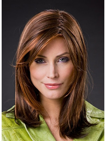 Medium Synthetic Hair Straight Wig with Side Bangs