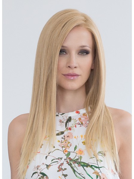 Natural Long Straight Blonde Human Hair Lace Front Mono Top Wigs ba62faa50