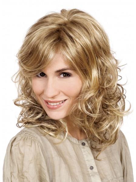 Shoulder Length Culry Blonde Women Wig