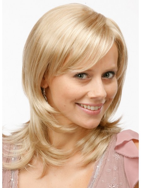 Shoulder Length Cute Light Blonde Human Hair Ladies Wig