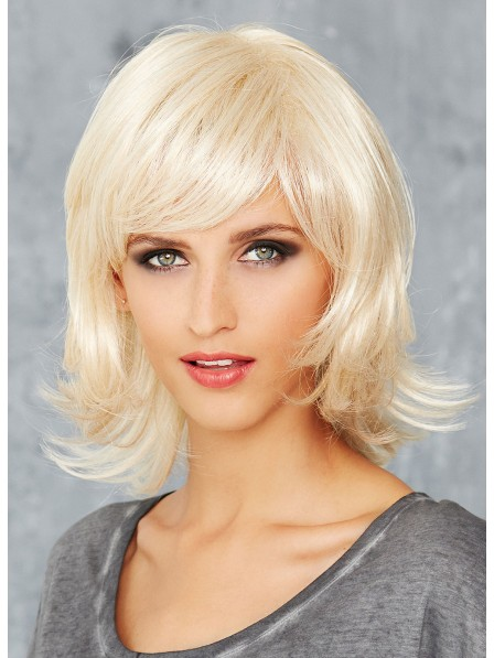 Shoulder Length Platinum Blonde Natural Straight Wigs With Bangs