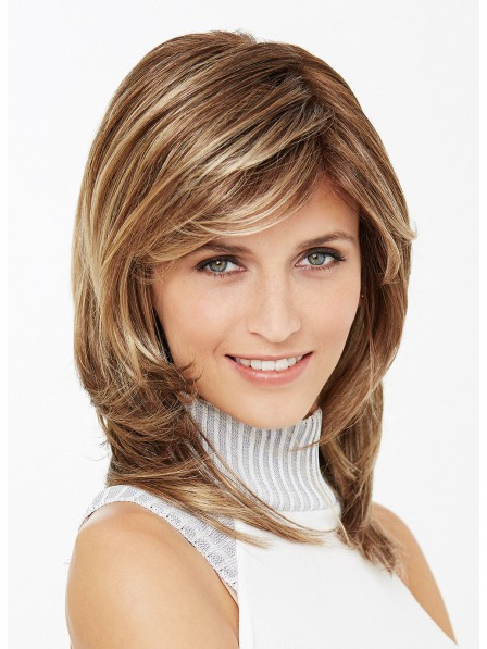 Shoulder Length Straight Layered Synthetic Hair Wigs With Side Bangs