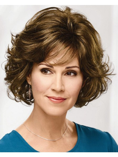 Stylish Mid-Length Wig With Lush Layers Of Loose Waves And Bouncy Curls