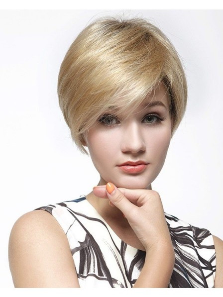 Chic Short Lace Front Mono Top Women Blonde Wig