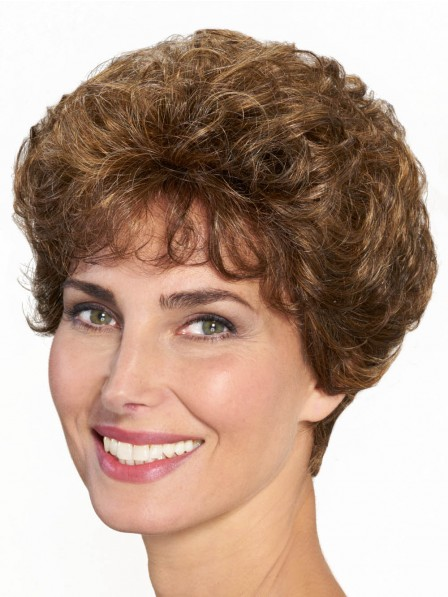 Classic Brown Short Women Wig with Curls
