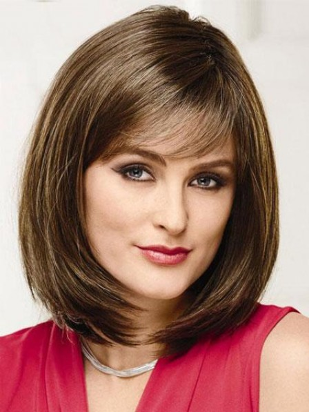 Classic Human Hair Medium Bob Wig with Bangs