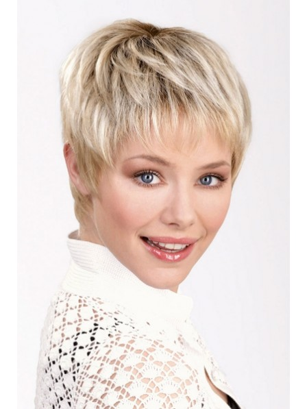 Cute Boy Cut Women Blonde Hair Wig