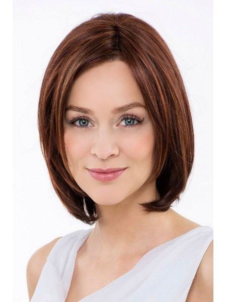 Cute Brown Lace Fron Mono Top Straight Human Hair Bob Wig