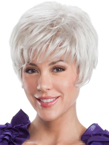Lace Front Mono Top White Short Ladies Wig