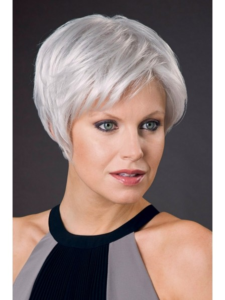Lace Front Short Cut Ladies White Hair Wigs