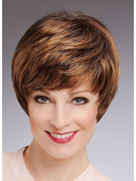 Light Brown Boy Cut Women Short Straight Synthetic Hair Wigs d1085ab230