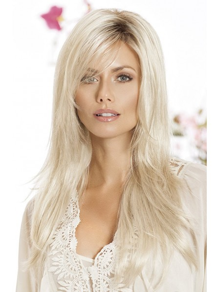 Long Platinum Blonde Lace Front Mono Top Human Hair Wigs