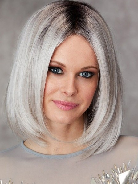 Medium Ladies White Grey Bob Hair Wigs