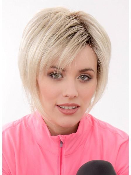 Natural Blonde Short Straight Women Capless Wig
