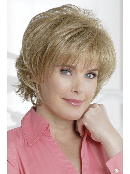 Short Straight Layered Cut Women Blonde Wig