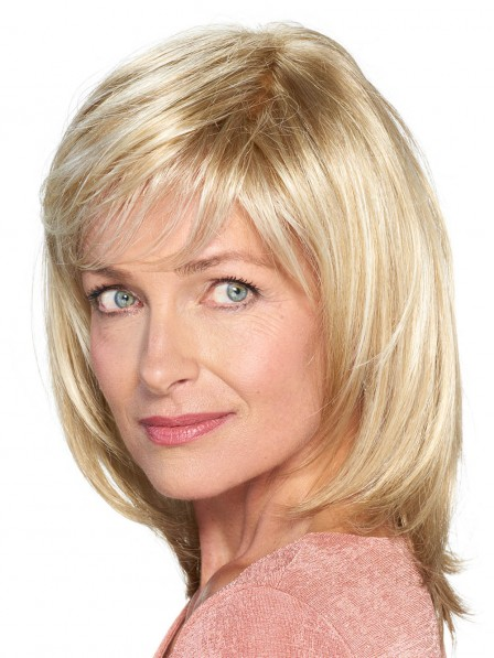 Shoulder Length Blonde Lace Front Mono Top Women Wig