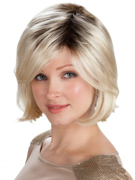 Synthetic Hair Medium Blonde Wig with Side Part