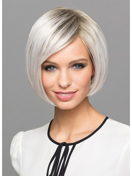 White Short Chic Bob Wigs With Side Bangs