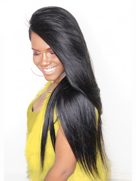 250% Density Lace Front Human Hair Wigs For Women Natural Black Color Full Brazilian Straight Human Hair Wig
