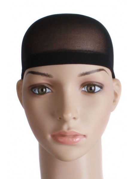 2 Pieces One Size Nylon Wig Cap Black