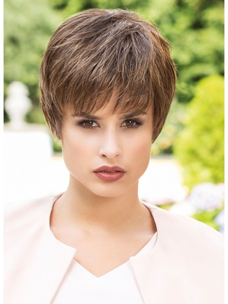 100% Human Hair Cropped Straight Wig With Bangs