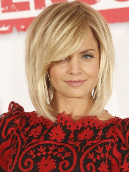 Mena Suvari Fashion Straight Blonde Human Hair Wig