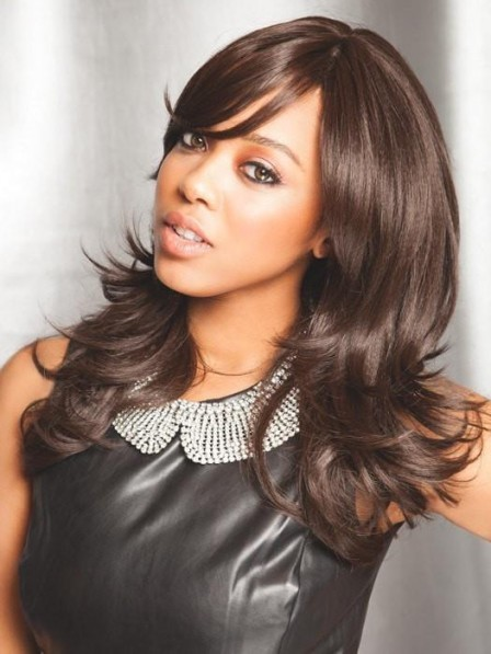 African American Long Layered Cut Brown Wig