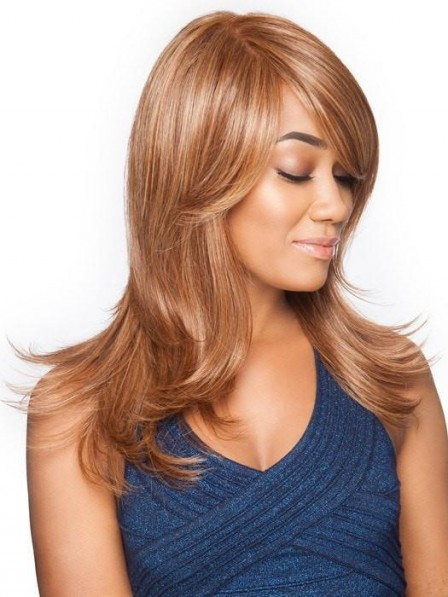 African American Long Layered Lace Front Monolilament Wig