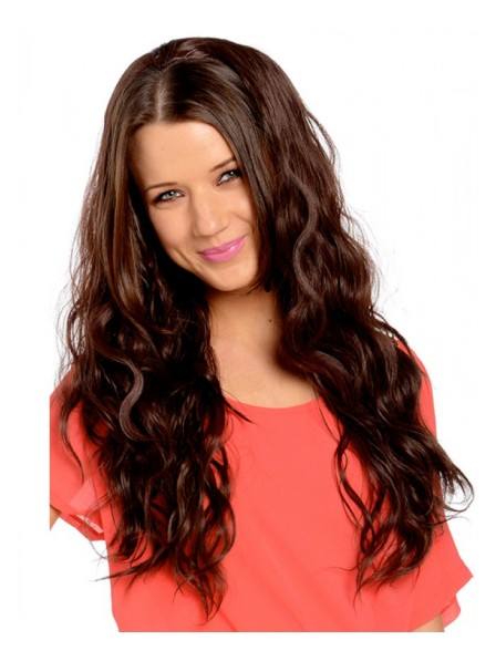 Beach Wave Long Brown Half Wigs