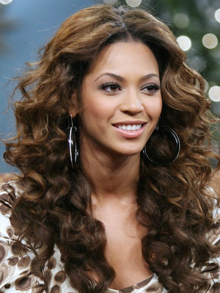 Beyonce Amazing Long Light Brown Wavy Human Hair Wigs