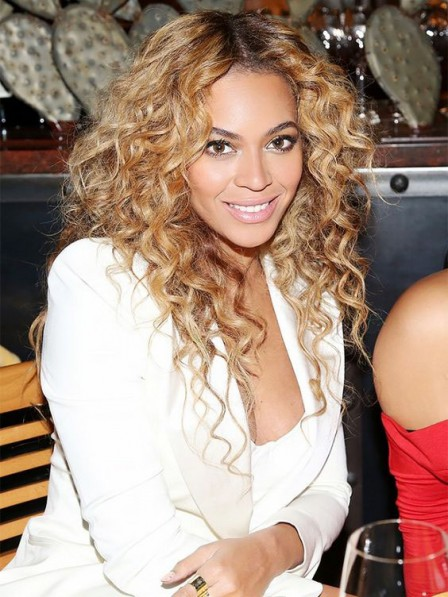 Beyonce Blonde Long Curly Synthetic Lace Front Wig - Rewigs.co.uk