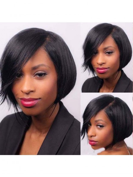 Big Bangs Short Bob Cut Brazilian Human Hair